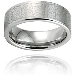 West Coast Jewelry Men's Tungsten Carbide Polished Intricate Laser Design Ring (8 mm)