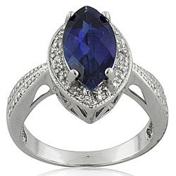 Sterling Silver Sapphire and 1/10ct TWD Diamond Ring