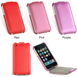 Iphone 3G 3GS Carbon Fiber Leather Pouch Case