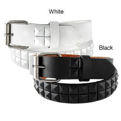 Kid's Black and White Studded Faux Leather Belt
