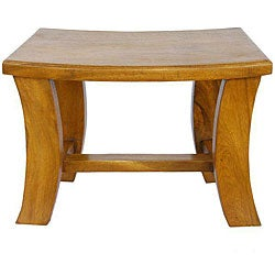 Hand-carved Acacia Wood Curved Side Table (Thailand)