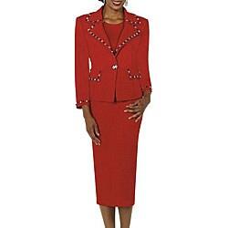 Todd & Olivia Women's Plus Size Red Rhinestone Skirt Suit