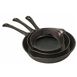 Sunbeam Cast Iron 3-piece Pre-seasoned Frying Pans