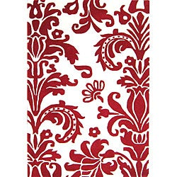 Hand-tufted Flordely Red Wool Rug (5' x 8')