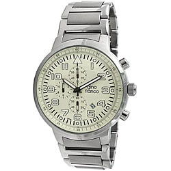 Gino Franco Men's Stainless-Steel Chronograph Watch with Cream Dial
