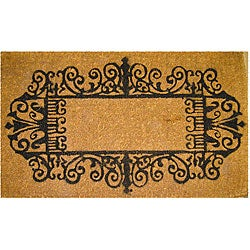 Black Wrought Iron Border Coconut Fiber Extra-thick Door Mat (1'6 x 2'6)