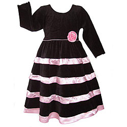 AnnLoren Girl's Black Velvet/ Pink Satin Holiday Dress