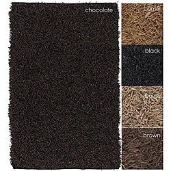 Hand-woven Mandara Suede Leather Shag Rug (2'6 x 6')