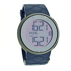 Gucci Men's YA114208 'I-Gucci' GG Blue Rubber Digital Watch