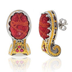 Michael Valitutti 18k Vermeil/ Palladium/ Silver Coral/ Sapphire Earrings