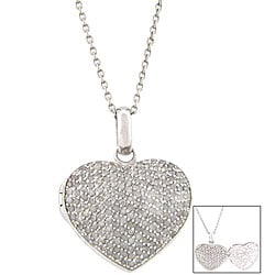 Sterling Silver 2ct TDW Diamond Heart Locket