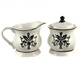 Hand-painted Black/ White Sugar Bowl/ Creamer