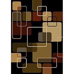 nuLOOM Omega Collection Geometric Modern Black Rug (5'3 x 7'6)