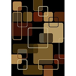 nuLOOM Omega Collection Geometric Modern Black Rug (7'10 x 10'6)