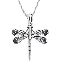 CGC Sterling Silver Amethyst Celtic Dragonfly Necklace