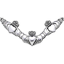 CGC Sterling Silver Triple Claddagh Necklace