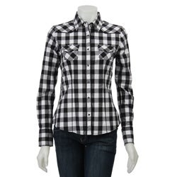 Womens Black And White Checked Blouse 23