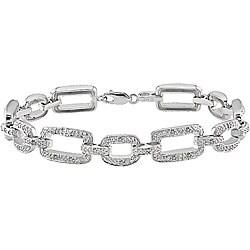 Haylee Jewels Sterling Silver 1/5ct TDW Diamond Link Bracelet (J-K, I3)