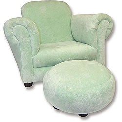 Trend Lab Sage Velour Club Chair and Ottoman Set