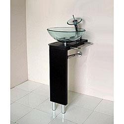 Silkroad exclusive granite top 55 inch double sink vanity cabinet - Solid Wood Pedestal Vessel Sink And Vanity Set 12299912