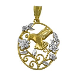 Fremada 14k Two-tone Gold Hummingbird and Flower Pendant