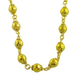 Goldkist 18k Gold over Sterling Silver Diamond-cut Bead Necklace