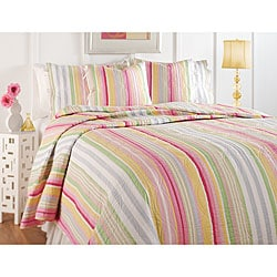 Sunny Stripe Multicolored 3-piece Quilt and Sham Set