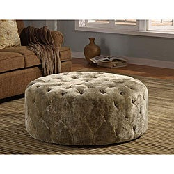 Moss Green Velvet 40-inch Round Ottoman