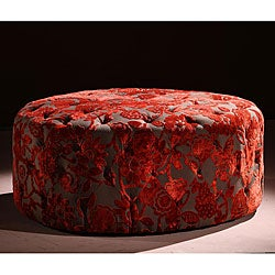 Red Velvet 40-inch Round Ottoman