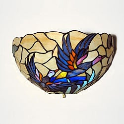 Tiffany-style Half Moon Stained Glass Mallard Accent Light