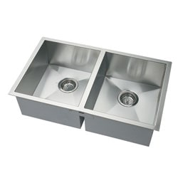DeNovo Double-square Corner Undermount Sink and Drain
