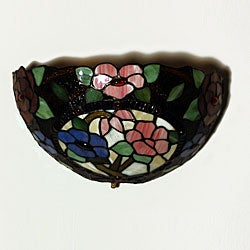 Tiffany-inspired Stained Glass Floral Wall Sconce