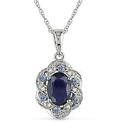 Miadora 10k White Gold Multicolor Sapphire Flower Necklace