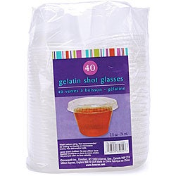Gelatin Clear Plastic 2.5-oz Shot Glasses (Pack of 40)