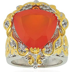 Michael Valitutti Silver/ 18k Vermeil Mandarin Chalcedony Ring