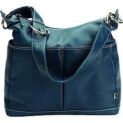 OiOi Smokey Blue Leather Hobo Diaper Bag
