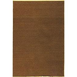 Indo Handmade Sumak Flatweave Brown Rug (6' x 9')