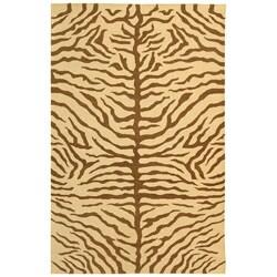 Handmade Sumak Flatweave Ivory and Brown Stripes Rug (8' x 10')