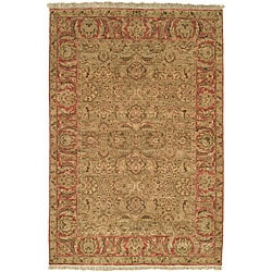Heirloom Treasures Hand-knotted Green/ Rose Wool Rug (9' x 12')