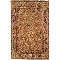 Heirloom Hand-knotted Kashan Gold Wool Rug (9' x 12')
