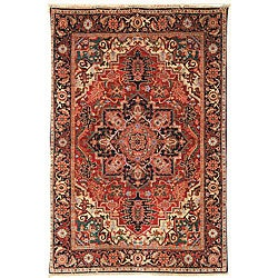 Heirloom Treasures Hand-knotted Red Wool Rug (5' x 7'6)