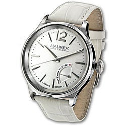 Haurex Italy Men's Grand Class White Leather Strap Watch