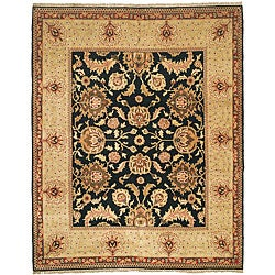 Oushak Hand-knotted Tabaz Black/ Ivory Wool Rug (6' x 9')