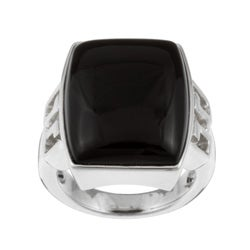 Kabella Sterling Silver Black Agate Rectangle Ring