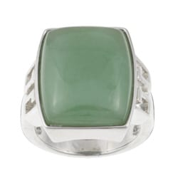 Kabella Sterling Silver Dyed Green Jade Rectangle Ring