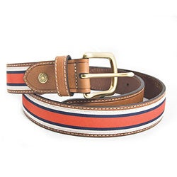 Tommy Hilfiger Men's Red/ White/ Blue Fabric Stripe Belt