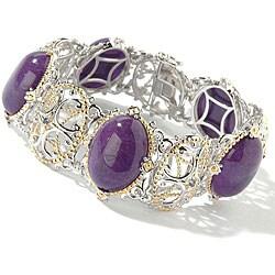 Michael Valitutti Silver/ Palladium/ 18k Vermeil Purple Jade/ Sapphire Bracelet