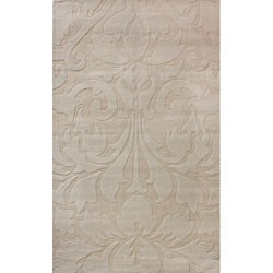 Handmade Alexa Neutrals and Textures Damask Beige Wool Rug (5' x 8')
