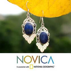 Lapis Lazuli 'Blue Lotus' Flower Earrings (India)