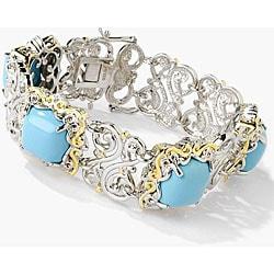 Michael Valitutti Silver/ Palladium/ 18k Vermeil Turquoise and Sapphire Bracelet